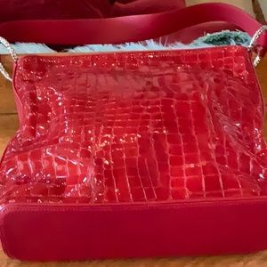 Brighton Red Gator Embossed Leather Handbag Lovely